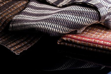 Upholstery fabrics reflection on black background