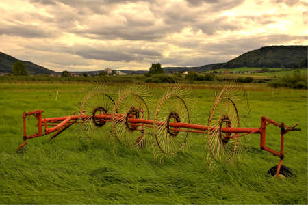 agricultural engineering: hay turning machine on a green meadow  in a country area in side view