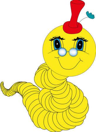 oruga: Vector de un bookworm amarillo con una cara amable y anteojos azules con un sombrero rojo en la cabeza