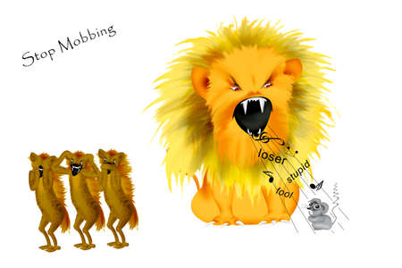 mobbing to a weaker person depicted  of a wild lion who exhaust a little mouse  while the other people are looking away.  Stock Photo - 9175180