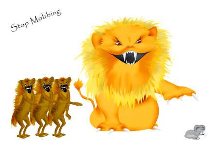 hienas: hostigamiento a una persona más débil, representada de un León salvaje y tres hienas. Están riendo mientras el pobre ratoncito está llorando. Foto de archivo
