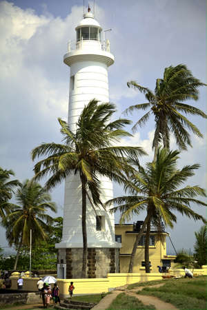 White lighthouse in the old dutch fort in Galle on the beautiful tropical island Sri Lanka