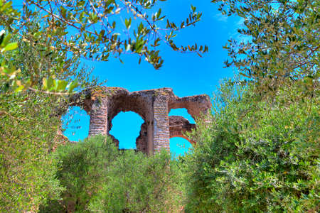 southward: Grotto Catullus at the Lake Garda in Sirmione Editorial