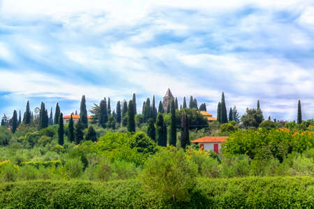 southward: A landscape like in the Tuscany you will find in Sirmione at the Lake Garda Stock Photo