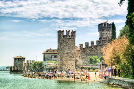 sirmione: Scaliger Castle in Sirmione at the Lake Garda in Italy in Historically and playful architecture