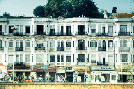 suq: A historic house facade in the Tangier harbour in the West-African Kingdom Morocco shows the glory of long ago times Editorial