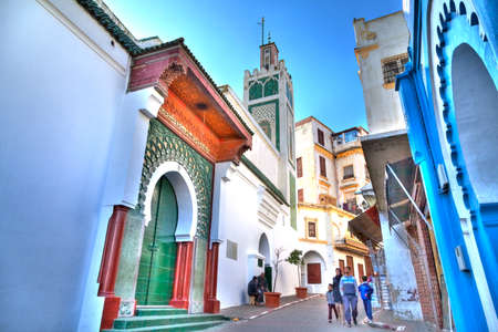 illustrious: The glorious Big Mosque in the heart of the medina of Tangier in the Kingdom of Morocco in Africa