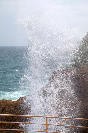 blow hole: The tourist attraction Blow Hole in the South of Sri Lanka at the Indian Ocean