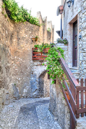 eastbank: in the historical old town of the charming village Malcesine at the eastbank of the Lake Garda in Italy Stock Photo