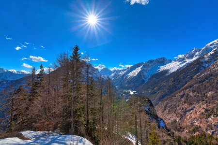 In the Triglav National Park in Slovenia, Eastern Europe, with clear bright ice-blue glacial rivers and the mighty mountain chains of the Julian Alps and the Karavanks shines the dawning nature in spring with the sunny weather and blue sky Stock Photo