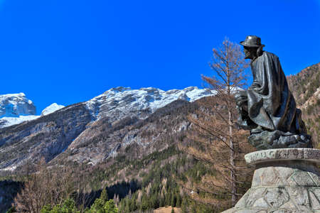 memorial of Dr. Julius Kugy in Trenta in the Slovenian Triglav National Park, East Europe, a bronze figure with a view to the Julian Alpes