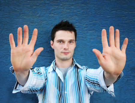 stance: Man with his hands up in a defensive stance Stock Photo