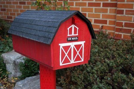 Red letter box with US mail on the front photo