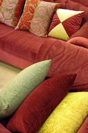 Sofa and chair with luxurious pillows photo