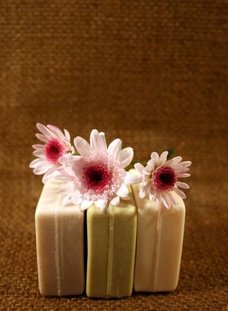 hygenic: Three natural colored soaps Stock Photo