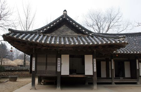 folk culture: Tradicional Coreano casa en Pueblo Folcl�rico de Suwon, Corea del Sur
