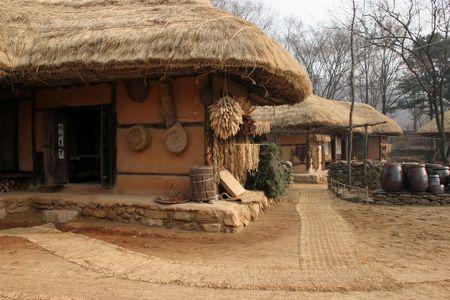 tradional: Tradional housing at Suwon Folk Village, South Korea Stock Photo