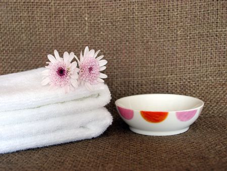 white towels: Two white towels and dish at a day spa