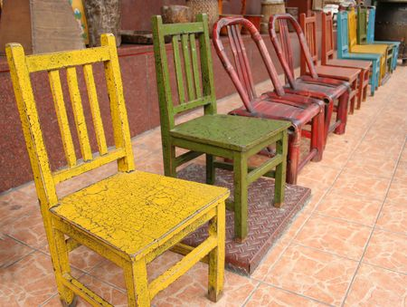 Colorful wooden chairs in Itaewon shopping area, Seoul, South Korea Stock Photo