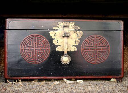 Large black wooden antique case photo