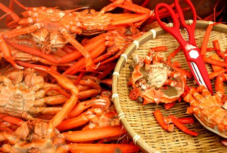 Crabs and scissors on a plate photo