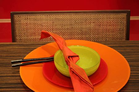 Orange, red and green table setting - home interiors Stock Photo - 356651