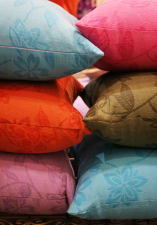 Pile of colorful pillows