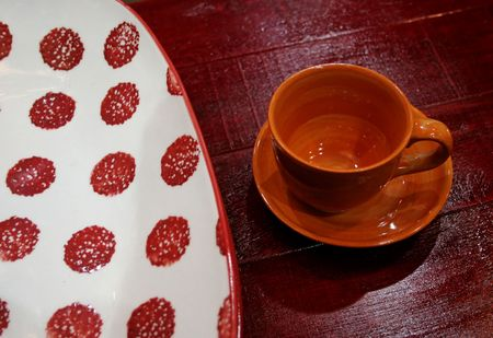 Red spotted plate and red cup against a red background photo
