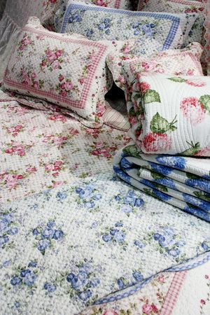 Pink and blue floral bedding Stock Photo - 356629