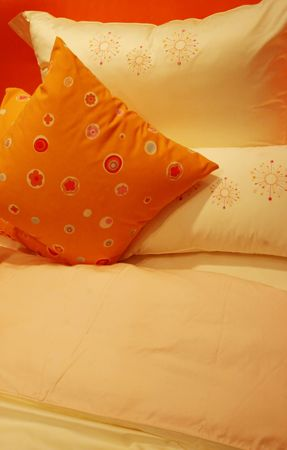Orange bed linen photo