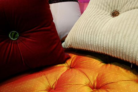 Colorful pillows - home interiors Stock Photo - 378285