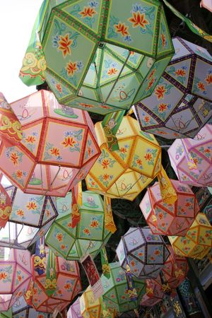buddhas: Lanterns hanging at Bongeunsa temple in preparation for Buddhas birthday on May 5th, Seoul, South Korea
