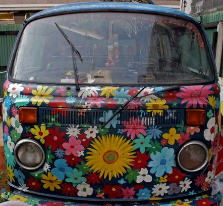 Bus painted with flowers