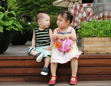 Cute Asian boy and girl photo