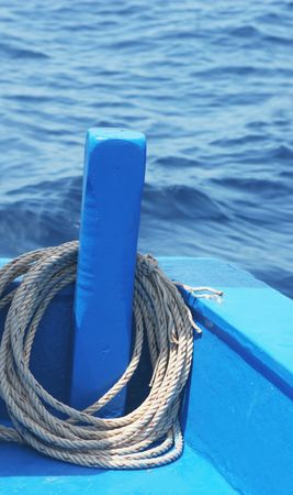 Fishing rope on a boat photo