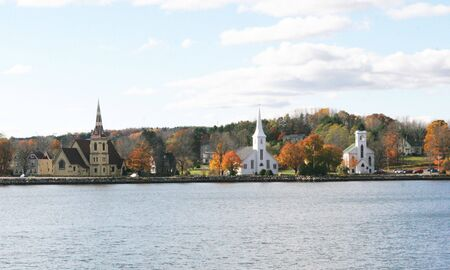 overlooking: Churches overlooking the water in Nova Scotia, Canada Stock Photo