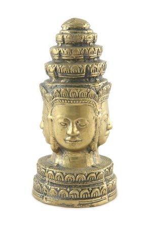 collectible: Gold statue from Cambodia - isolated Stock Photo
