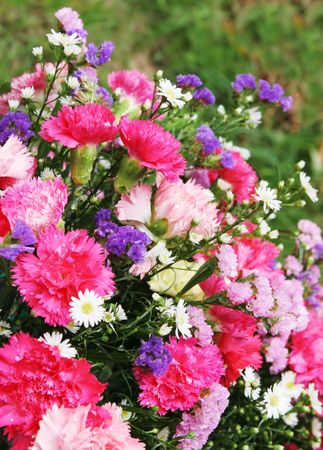 pinks: Beautiful bouquet of flowers in pinks and purples Stock Photo