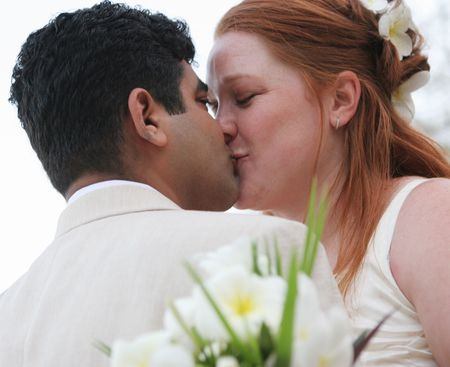 Bride and groom kiss on their special day Stock Photo - 712442
