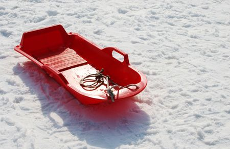 Red sled in the snow Stock Photo - 715951
