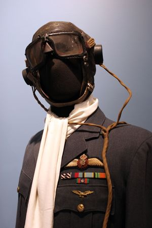 flew: Royal Canadian Air Force officers dress tunic on display at the Greenwood Aviation Military Museum, Nova Scotia, Canada. Pilots often flew in their uniforms with just the helmet, goggles and life jacket on top.