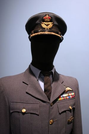 canadian military: Royal Canadian Air Force uniform on display at the Greenwood Aviation Military Museum, Nova Scotia, Canada.