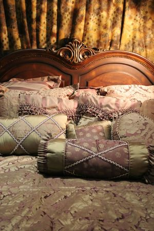 Double bed with beautiful linen - home interiors Stock Photo - 787799