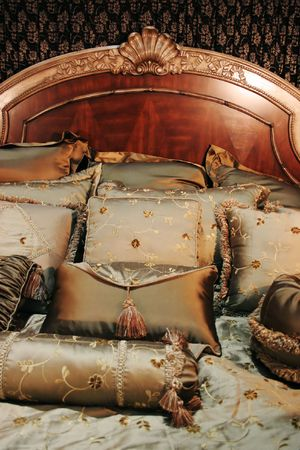 Double bed with beautiful linen - home interiors Stock Photo - 787762