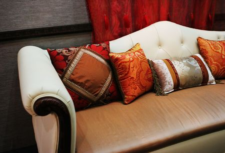 Modern sofa with colorful cushions - home interiors Stock Photo