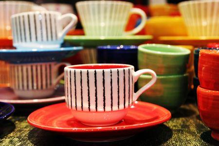 interni casa: Colorful tazze di t� - home interni Archivio Fotografico