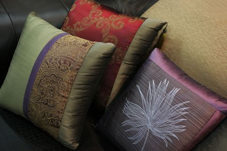 Close-up of pillows on a couch - home interiors Stock Photo