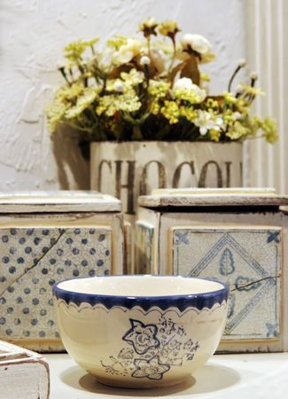 homeware: Blue and white pottery bowl and home items - home interiors Stock Photo