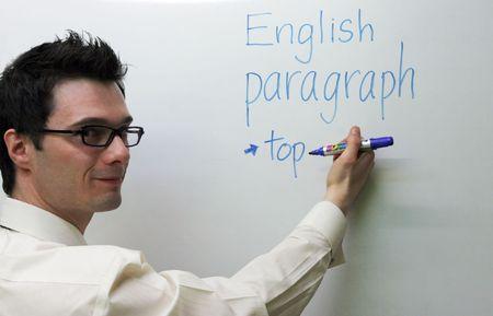 enseignants: �criture de professeur anglais sur le conseil Banque d'images