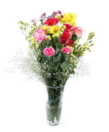 Vase of flowers isolated on white photo